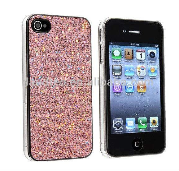 iPhone 4 Silver Bling Glitter Hard Case