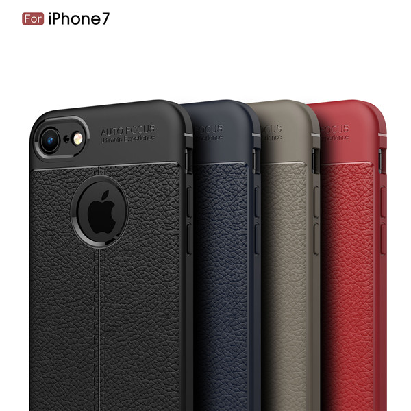 Litchi Pattern Silicone TPU Case for for iphone 7