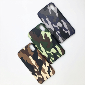Slim Rubber PC Camouflage Leather Case For iPhone X
