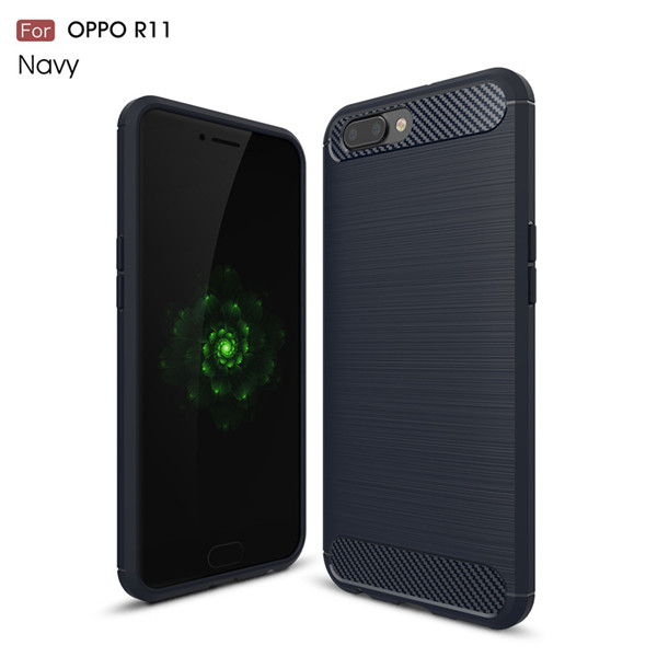Carbon Fiber TPU Phone Case Cover For Oppo R11