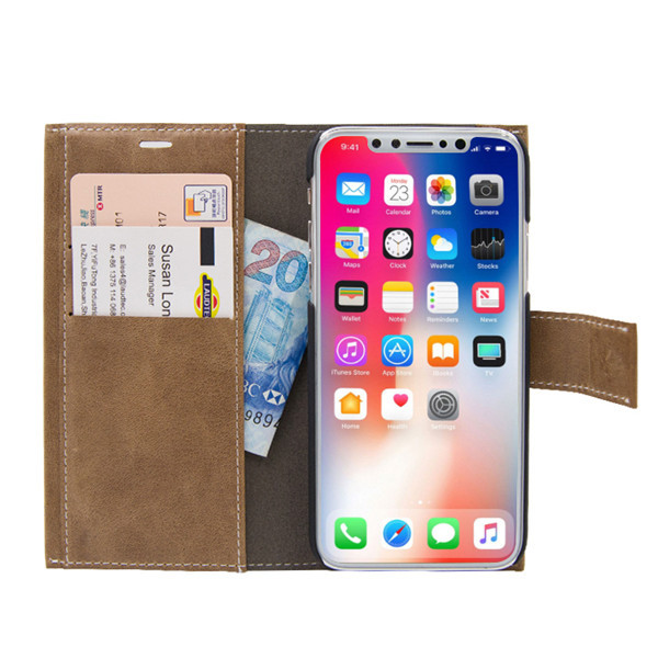 Premium PU Leather Wallet Cover for iphone X