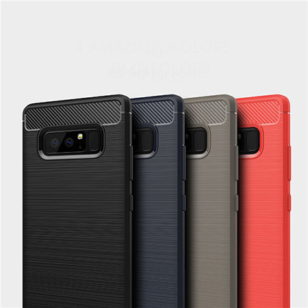 For Samsung Galaxy Note8 Carbon Fiber Soft Rubber Gel TPU Back Cover Case