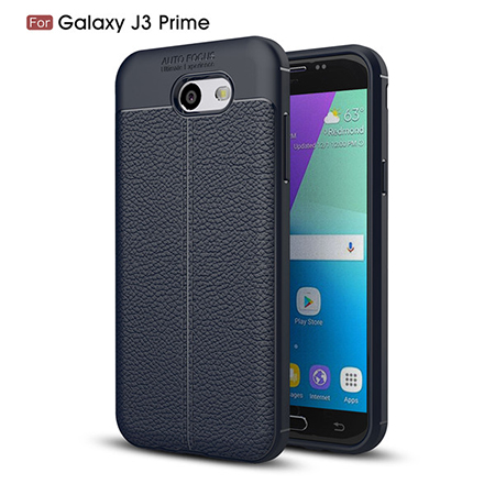 For Samsung J3 prime TPU Lichi Leather Pattern Back Cover Case