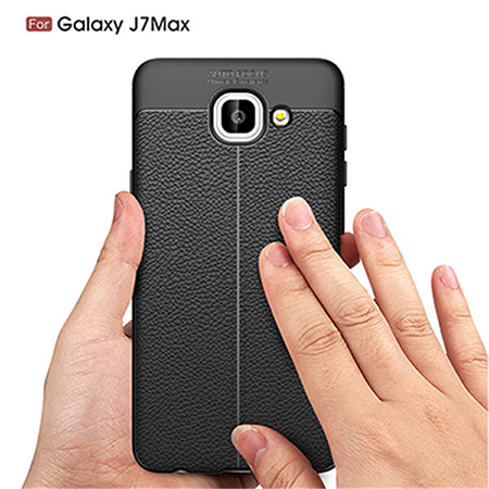 For Samsung J7 Max Ultra Slim TPU Lichi Leather Back Cover Case