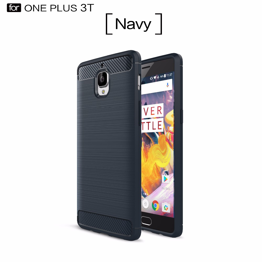 brushed carbon fiber texture tpu back case for oneplus 3T