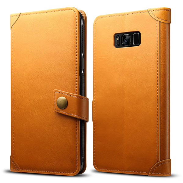 Genuine Leather Handmade Wallet Case For Galaxy S8 Plus