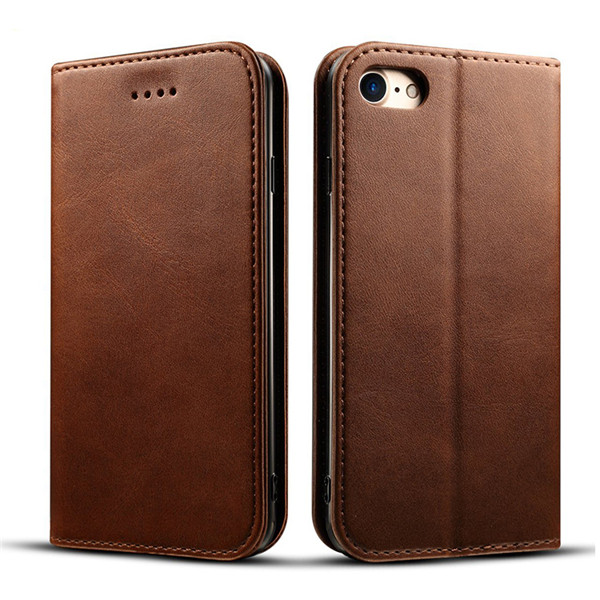 Genuine Leather Wallet Flip Case For iPhone 8
