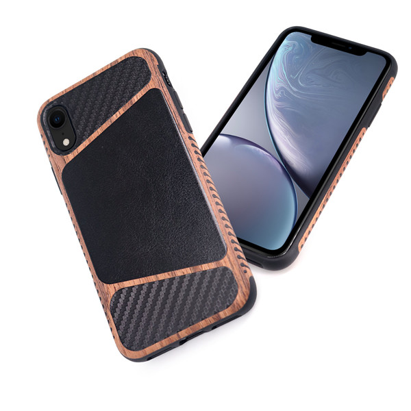 Laudtec wooden calf leather mobile case for iphone XR
