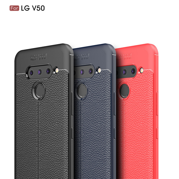 Skillful Manufacture Lichee Pattern Soft Tpu Phone Case For  LG V50