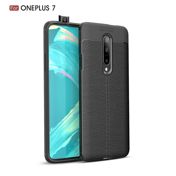 New Imitation Lichee Pattern Shockproof Leather Back Cover Case For Oneplus 7