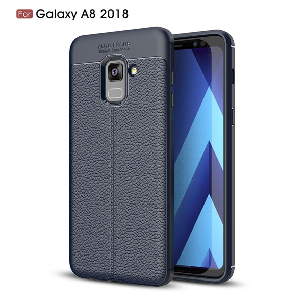 2019 newest Premium Litchi Leather Pattern TPU Back Cover Case For Samsung Galaxy A8 2018