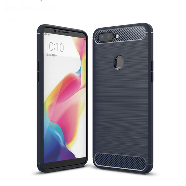 Soft Silicone Cover With Carbon Fiber For OPPO R11s