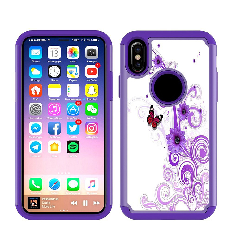 Dual Layer Silicone PC Armor  Case Cover For IPhone X