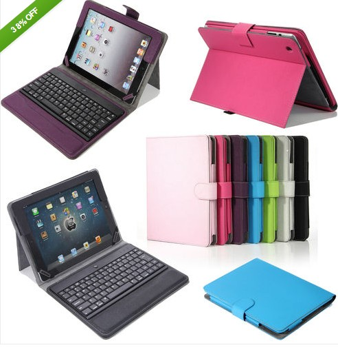 iPad 3rd 4th 2nd Stand Leather Case With Bluetooth Keyboard