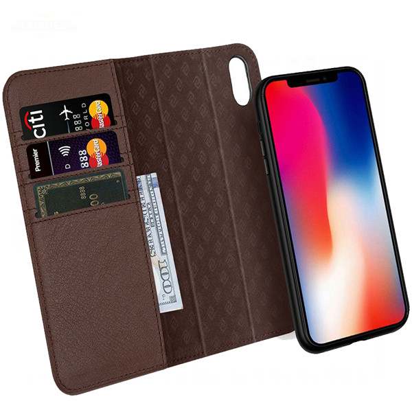 Detachable magnetic wallet leather cover  for iphone x