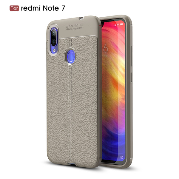 Anti-knock Lichee Pattern Soft TPU Classic Back Case For Redmi Note 7