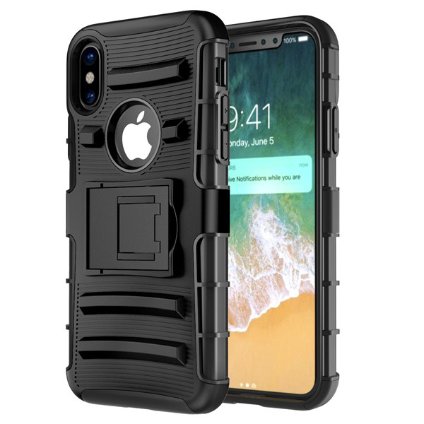 Shockproof Hard Cover Case with Built-in Kickstand for Apple iPhone 8