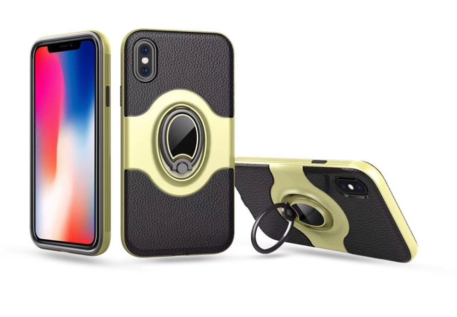 With Ring  Rugged Leather Smartphone Cover Case For iPhone X