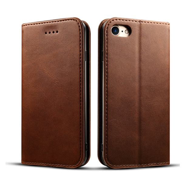 For iPhone 8 Genuine Leather Wallet Flip Case
